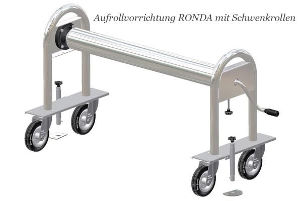 Aufrollvorrichtung RONDA 110 fahrbar auf Schwenkrollen