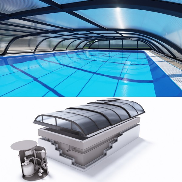 Albixon QUATTRO G2 Polypropylen Pool Komplettset mit Überlauf und Dallas Überdachung