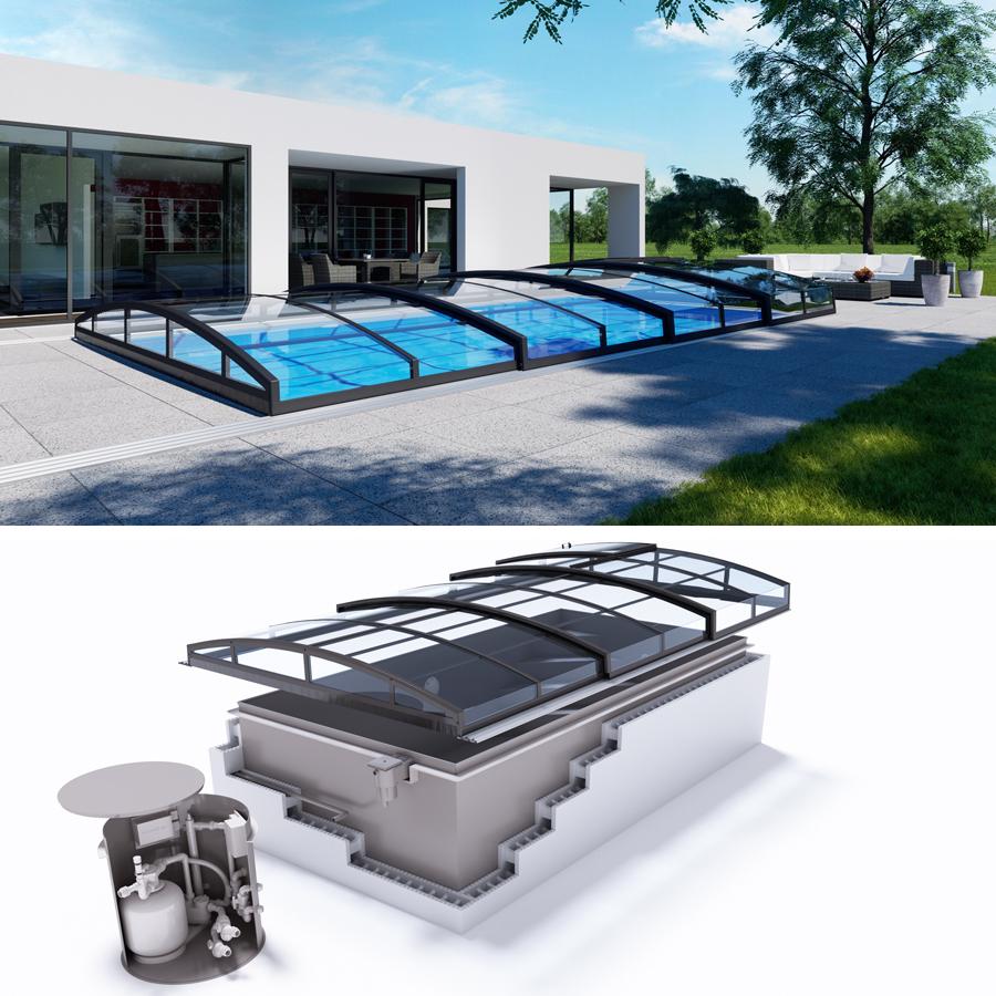 Quattro casablanca infinity polypropylen pool komplettset for Schwimmfolie pool