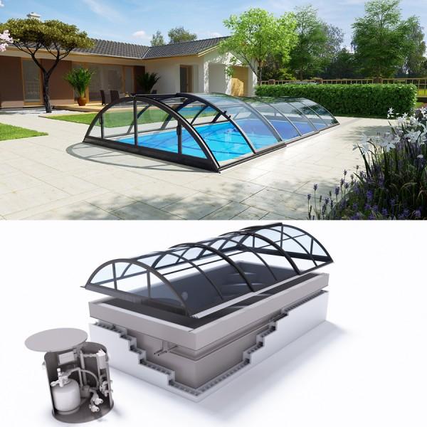 Albixon QUATTRO G2 Polypropylen Pool Komplettset mit Überlauf und Klassik Clear Überdachung