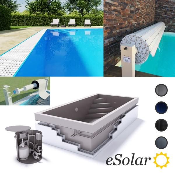 Upoolia Polypropylen Pool Komplettset mit Überlauf und Solar Rollladenabdeckung Junior