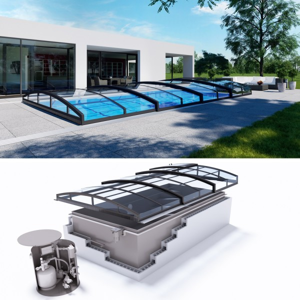 Albixon QUATTRO G2 Polypropylen Pool Komplettset mit Skimmer und Cassablanca Infinity Überdachung