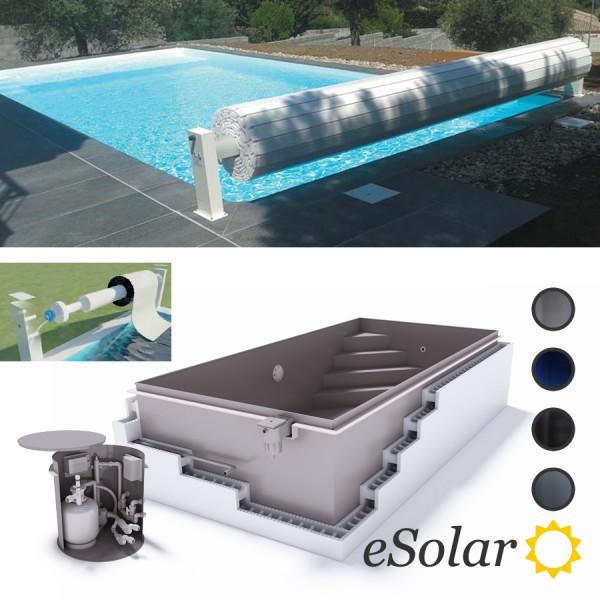 Upoolia Polypropylen Pool Komplettset mit Skimmer in weiß und Solar Rollladenabdeckung Junior