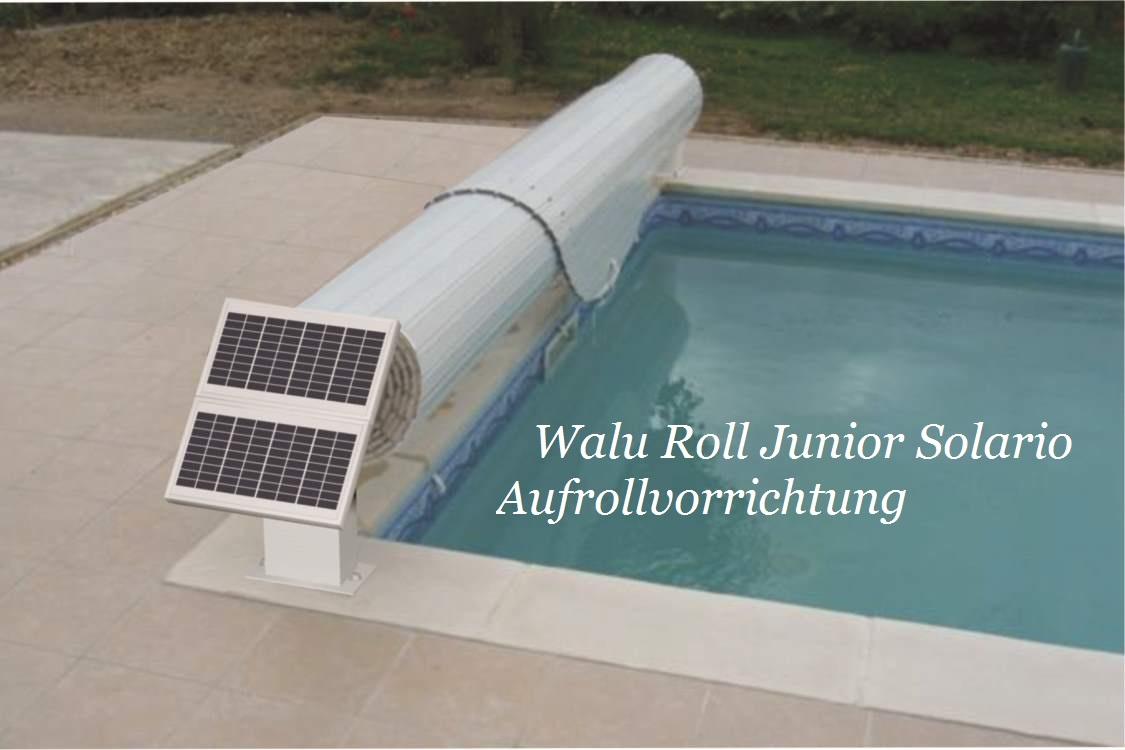 Junior solario das aufrollsystem mit sonnenenergie elekt for Schwimmfolie pool