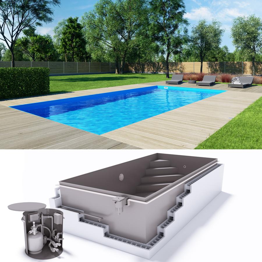 Albixon qbig g2 polypropylen pool komplettset mit skimmer for Schwimmfolie pool