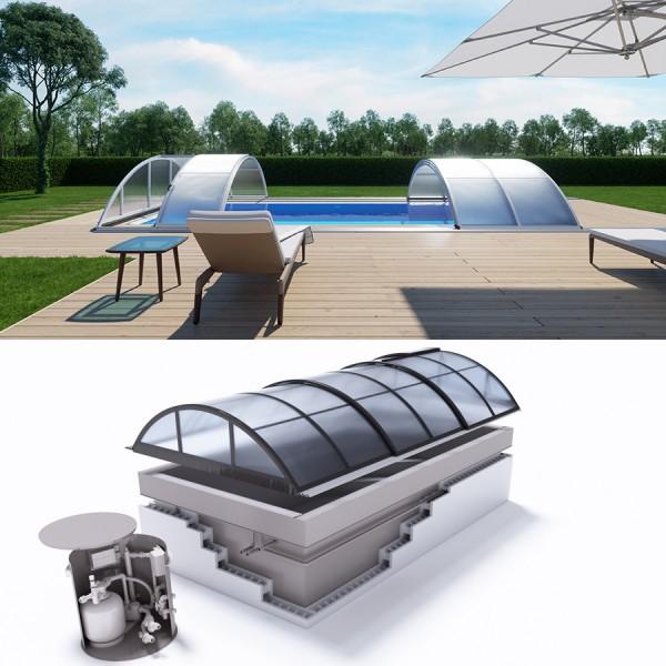 Albixon QUATTRO G2 Polypropylen Pool Komplettset mit Überlauf und Klasik Überdachung