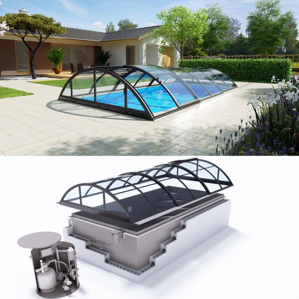 Albixon QUATTRO G2 Polypropylen Pool Komplettset mit Skimmer und Klassik Clear Überdachung