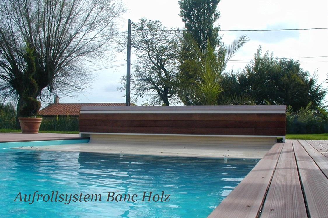 Banc verkleidete sitzbank inkl rolladenaufrollsystem for Schwimmfolie pool