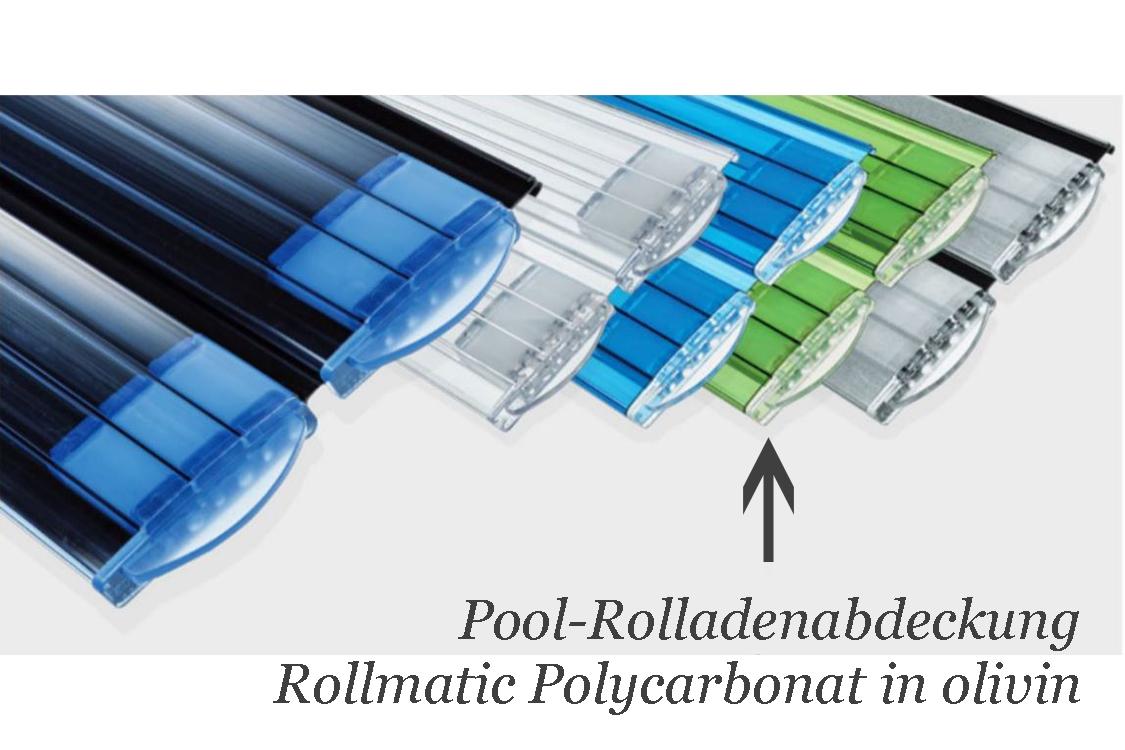 Bieri rollladenabdeckung rollmatic polycarbonat azur olivin for Schwimmfolie pool