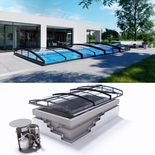 Albixon QUATTRO G2 Polypropylen Pool Komplettset mit Überlauf und Cassablanca Infinity Überdachung
